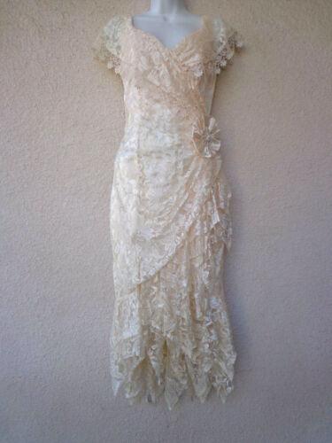 VTG 20s Flapper Style DRESS Floral Lace Formal Wedding Hanky Hem Boho Party M