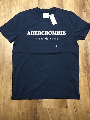 Abercrombie Mens Shirt Medium Logo Navy Blue NWT