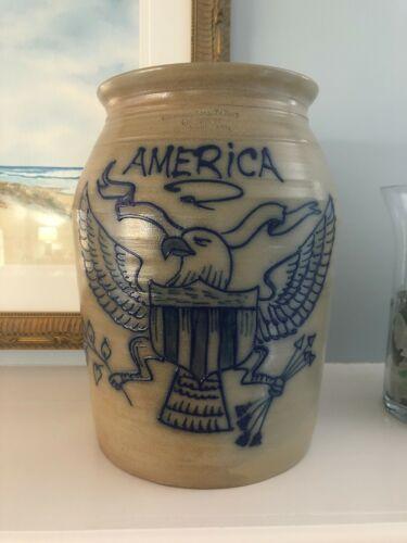 Beaumont Bros Pottery~S Rucker Salt Glaze Stoneware Eagle/America Crock~1994