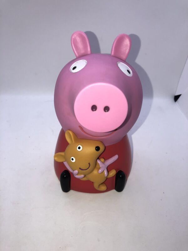 "Rare Peppa Pig W Teddy Plastic Vinyl Piggy Coin Bank W Stopper 2003 7"""