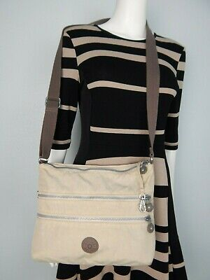 "Kipling Beige Nylon  Crossbody Bag 12' x 9"" x 2.5"""