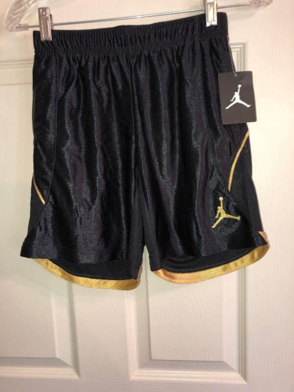 Jordan basketball shorts kids size medium black and gold