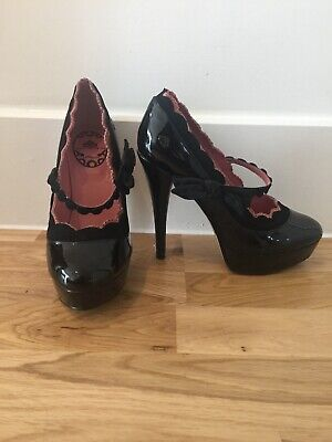 Fornarina Black Patent Leather And Suede High Heel Shoes Size 37 Vintage Style Black Patent Leather High Heel