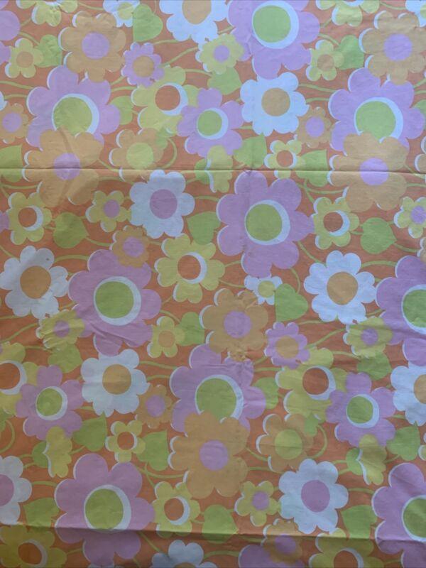 Vintage Pacific Miracale Orange Pink Full Flat Flower Power MCM MOD Sheet