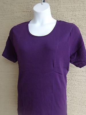 Roamans  Ribbed  S S Scoop Neck Cotton Tee Shirt Top Plus L 18 20W Dark Purple