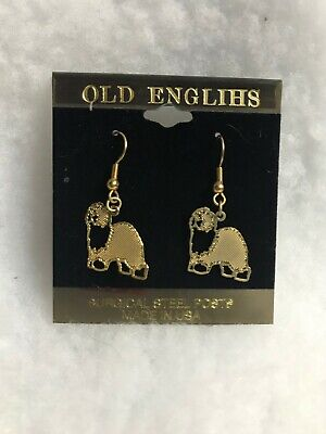 OLD ENGLISH SHEEPDOG GOLD PLATED EAR RINGS Old English Sheepdog Earrings