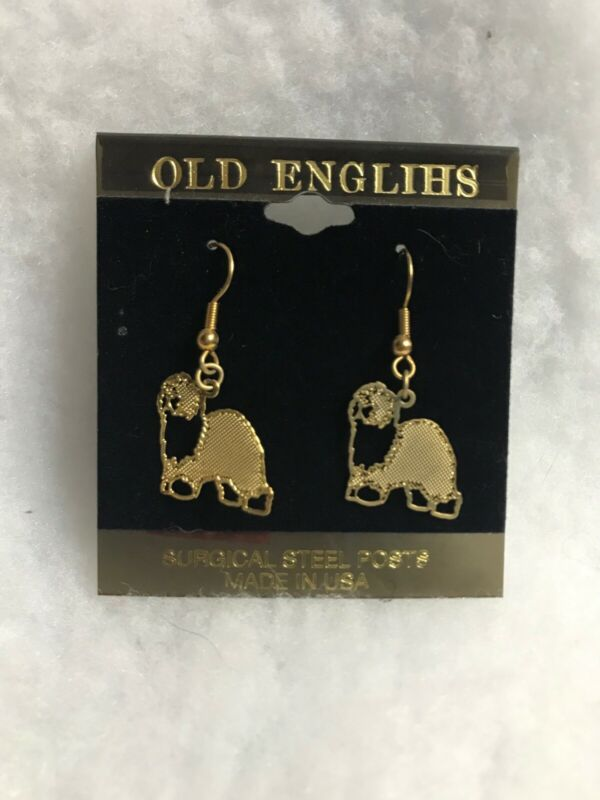 OLD ENGLISH SHEEPDOG GOLD PLATED EAR RINGS