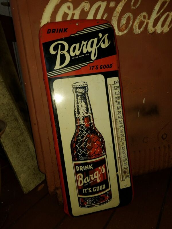 Vintage Barqs Root Beer WORKING Thermometer Sign GAS OIL COLA Not Porcelain