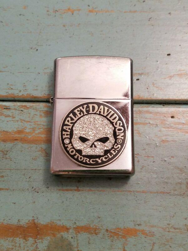 Harley Davidson Willie G Skull Crystal Stone Chrome Zippo Lighter