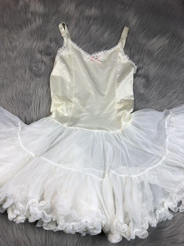 Vintage Girls Her Majesty Nylon Ruffle Petticoat Slip Dress