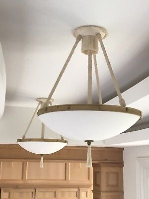 3 Light Corded Hanging Fixture With Frosted Glass Dish