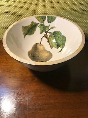 "Wood Salad Fruit Bowl Enameled Interior Pear Drawing Print 9 1/2"" Across NWOT"