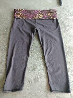 Fabletics Leggings Large Gray Fold Over Yoga Waist L Cropped Capris