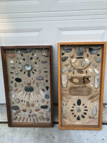 Large RARE American Arrowheads and Artifact collection framed High Quality