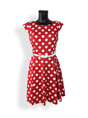Rot Polka Dot Baumwolle Kleid (Gotta 50er Retro Rockabilly Petticoat Kleid Polka Dot Weiß - Rot)
