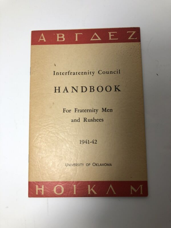 Antique / Vintage 1941-42 University Of Oklahoma Sooners Fraternity Rush Booklet