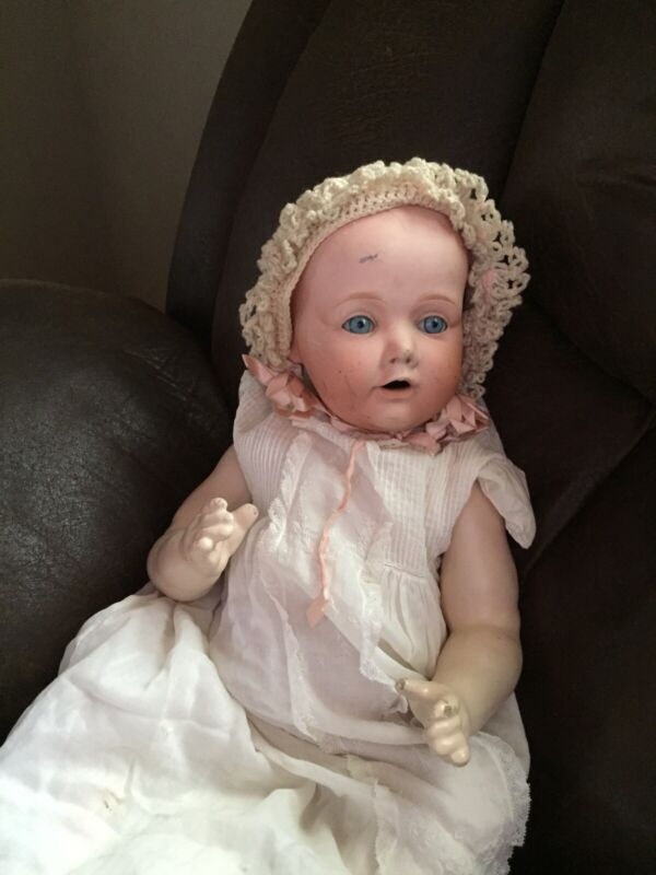 """Antique Bisque Head Compo Body Baby Doll Japan Nippon Large 22"""""""