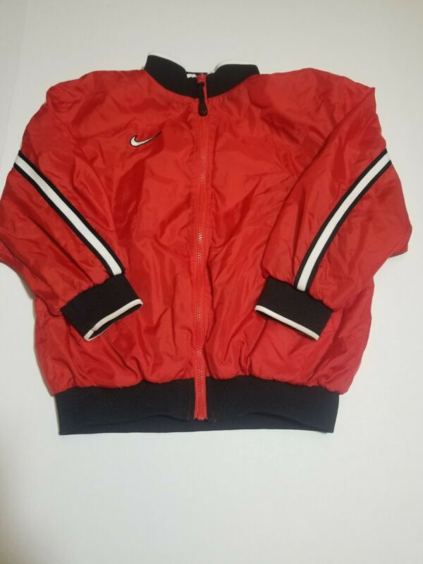 VINTAGE 90s NIKE WINDBREAKER JACKET RED WHITE YOUTH BOYS SMALL WHITE TAG