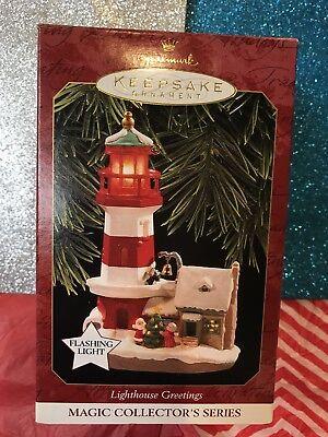 Two Hallmark Keepsake Ornaments Santas Showboat   Lighthouse Greetings Nib