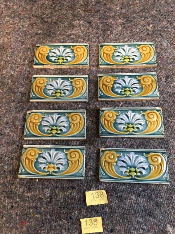 antique Art Nouveau fireplace tiles