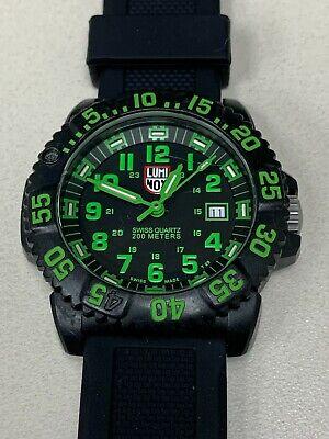 LUMINOX Watch Series 3050 / 3950 Green / Black Dial New Band Clean #314