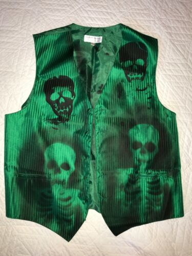MENS Day of the DEAD  Vest size L Halloween costume ghost unique OOAK green