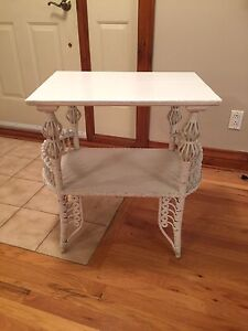 White wood and wicker table