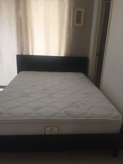 •Queen Leather Bed Frame With Pillow Top Mattress Plus 1x