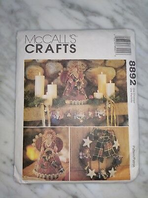 Vintage McCall's 8892 Christmas Country Angel Crazy Quilt Stocking - Tree Topper