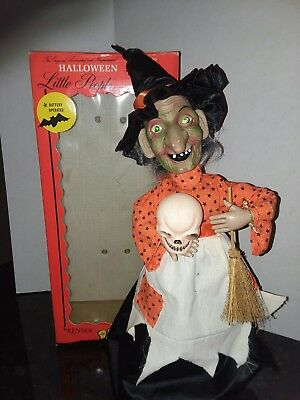 VINTAGE RENNOC ANIMATED ILLUMINATED MOTION-ETTES OF HALLOWEEN WITCH & BOX!