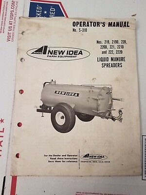 New Idea Avco Liquid Manure Spreader Owners Manual No. S-310
