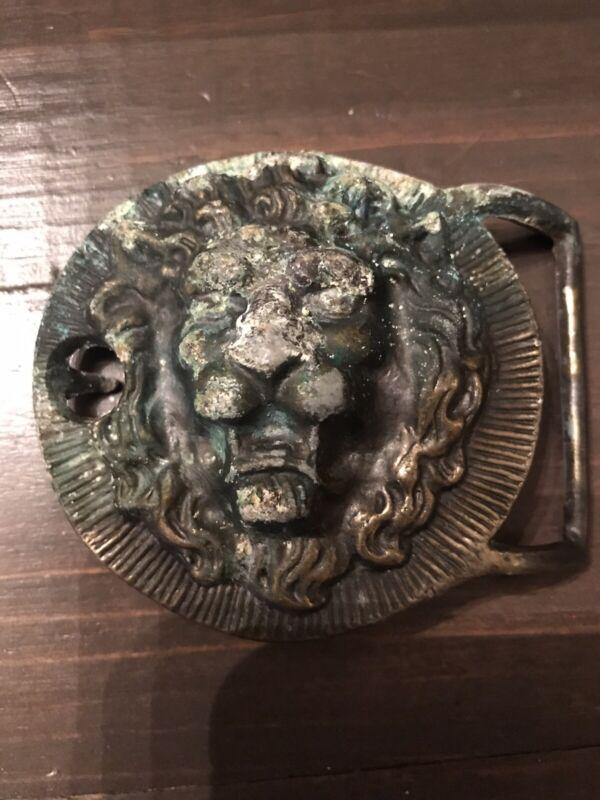 Vintage Lion Head Antique Belt Buckle 1960