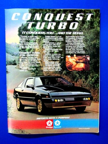 """1984 Conquest Turbo It Conquers You And The Road Original Print Ad 8.5 x 11"""""""