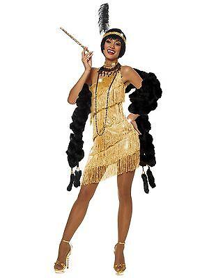 Sexy Adult Halloween Gold Dazzling Flapper Roaring 20's Costume w Fringe