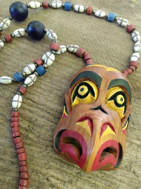 Northwest Coast Eagle Mask Salish Trade Bead Vintage Indian Carving Necklace