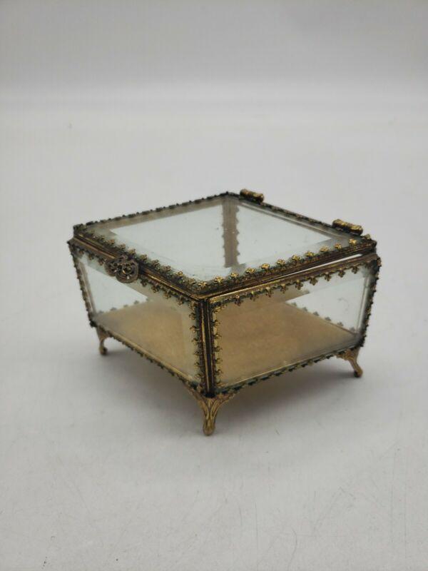 """Vintage Stylebuilt Glass Jewelry Box Velvet Pillow 5""""x3"""" GUC V4"""