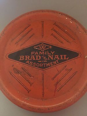 Vintage Advertising Ixe Family Brad and Nail Tack Tin with Contents