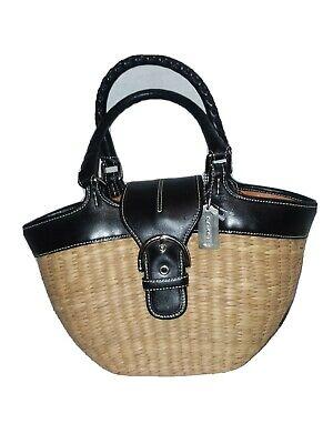 Coach Purse #6778 Black Leather Trim Wicker Straw Basket 2-handle Tote Handbag
