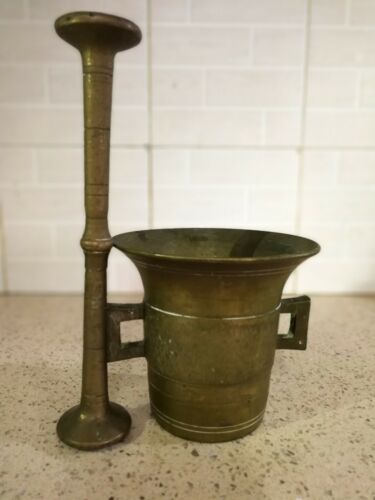 Antique Solid Brass Apothecary Mortar and Pestle w/ 2 ears Ottoman Era w/ Patina