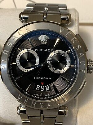 Versace VEBR00818 Aion Chronograph Black Stainless Steel Men's Watch MINT