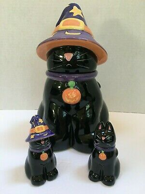 Harry And David Halloween Black Cat Cookie Jar In Witches Hat w/ Matching SP