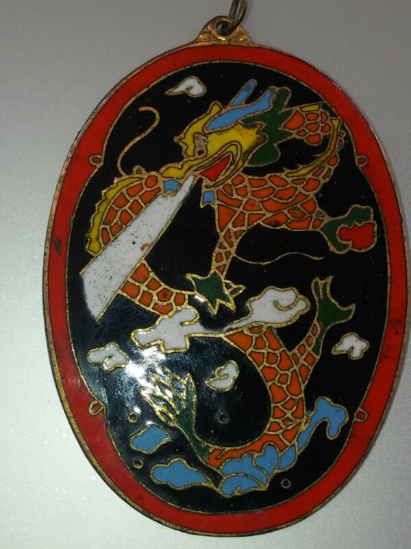 Asian Antique Pendant  Amulet  Charm  Cloisonne  Rare Dragon