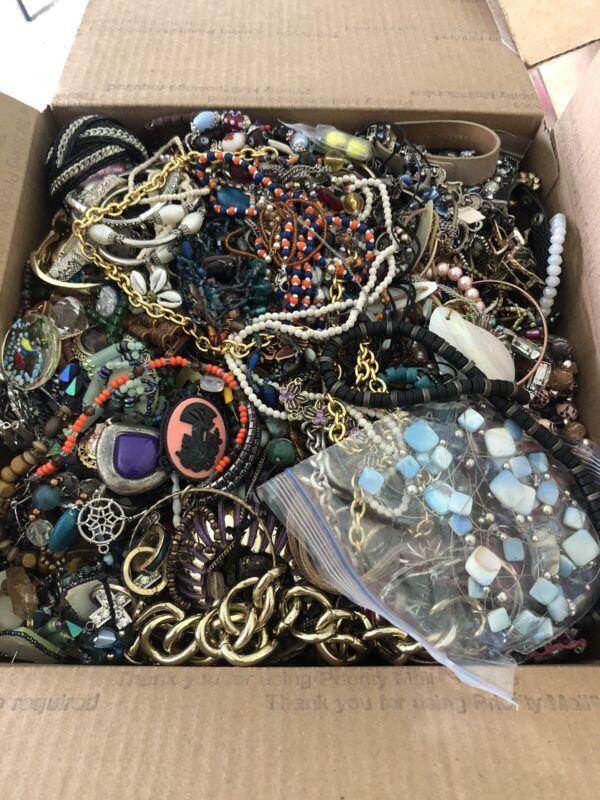 26 lbs Craft Junk Jewelry Lot Harvest Repurpose Costume Jewelry Craft Lot CB69