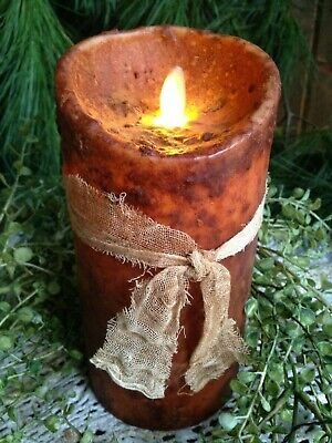 Primitive Farmhouse Realistic Flickering Flameless Brown 7