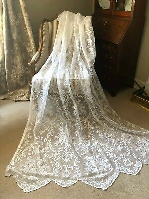 """LAST PAIR! BEAUTIFUL  NEW 60""""X90"""" VINTAGE FRENCH STYLE LACE/NET CURTAIN PANELS"""