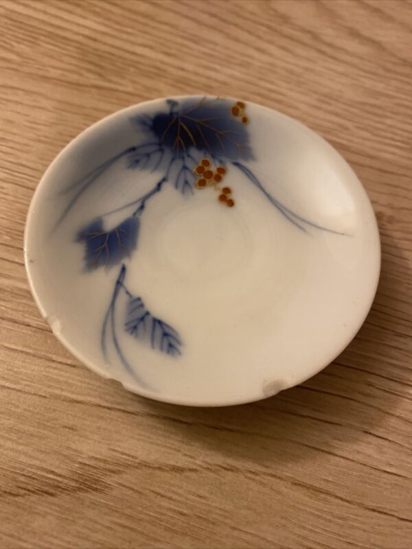 Vintage WW2 WWII Era Small Porcelain Japanese Dish W/ Leaves Berries