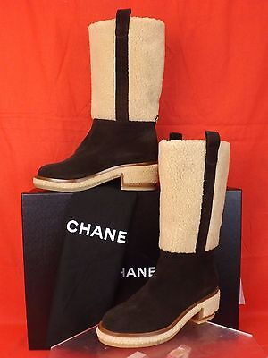 15A NIB CHANEL DARK BROWN  BEIGE SUEDE FAUX SHEARLING CC LOGO KNEE HIGH BOOTS 41
