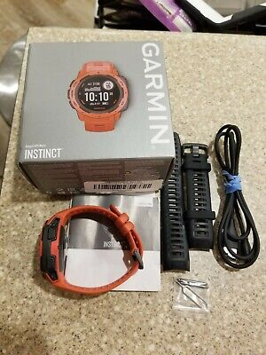 Garmin Instinct GPS Fitness Smart Watch Used Great Condition Flame Red +Band