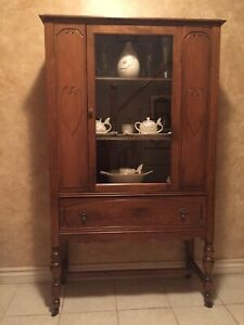 Antique Walnut-Finished Curio Cabinet, $100 OBO