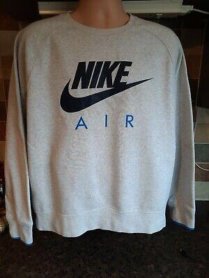 Nike Air Grey Blue Spellout Sweatshirt Jumper Size M/L